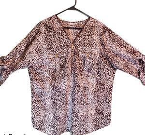 Women's Leopard plus size blouse SZ 3X